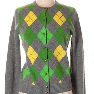 J. Crew Gray Argyle Print Sweater